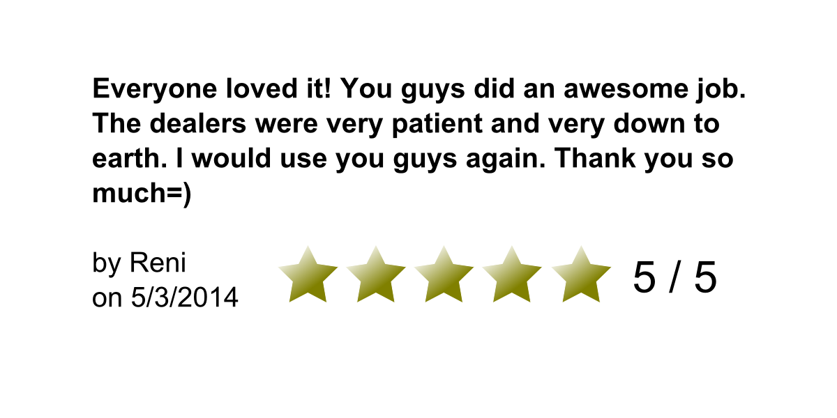 Everyone loved it! You guys did an awesome job. The dealers were very patient and very down to earth. I would use you guys again. Thank you so much. By Reni on 5/3/2014. 5/5 Stars.