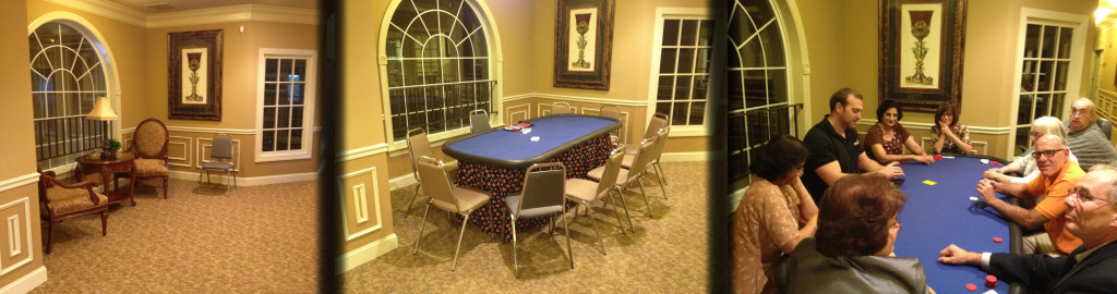 Before and after pictures of a hallway as we transform it from something ordinary to a fun casino party.