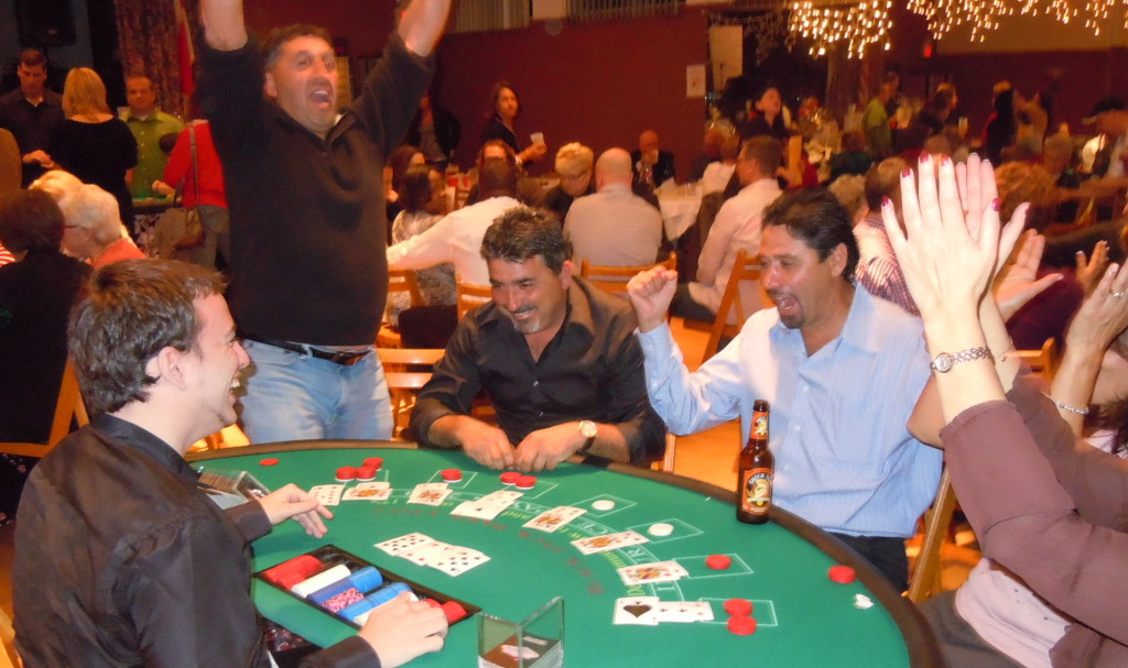 Players celebrate a winning hand at Blackjack